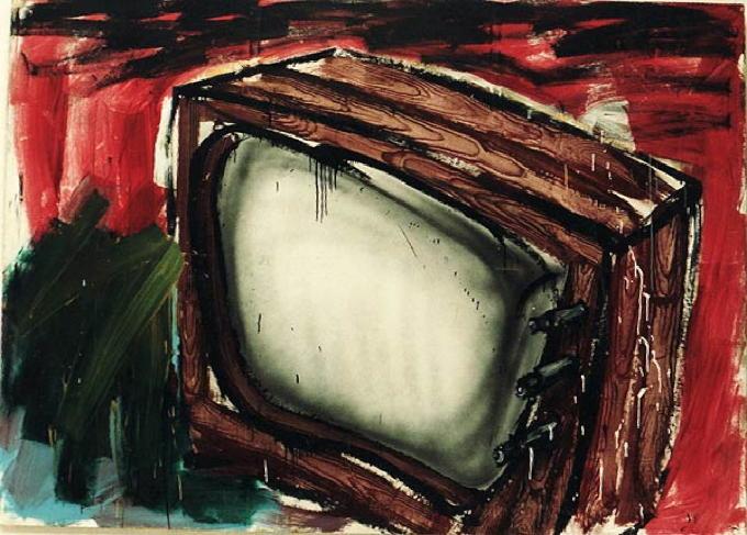 Fernseher, 1979, Acryl, Nessel, 217 × 299 cm